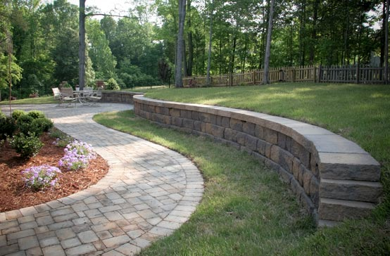 Southern Greenscapes Landscape Design & Construction | Rock Hill, SC | retaining wall and walkway